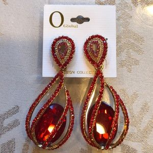 Red Earrings with Gold Hardware